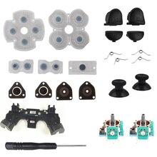 Için PS4 denetleyici onarım seti L1 R1 L2 R2 tetik düğmeleri 3D analog joystick Thumb çubukları kapağı iletken kauçuk tornavida takımı