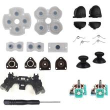 Juego de reparación del controlador para PS4, botones de disparo L1 R1 L2 R2, mandos de juego analógicos 3D, Thumb Sticks Cap, Kit de destornillador de goma conductivo