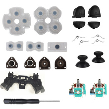 Voor PS4 Controller Reparatie Set L1 R1 L2 R2 Trigger Knoppen 3D Analoge Joysticks Duimpoken Cap Geleidende Rubber Schroevendraaier kit