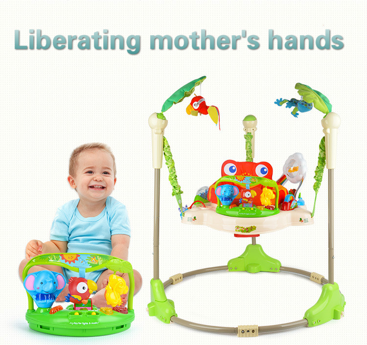 H021a5e754ea04be1862aa1d5b2fbc2f0k Multifunctional Electric Baby Jumper Walker Cradle Tropical Forest Baby Swing Rocking Body Child bouncer Swing Fitness Chiar