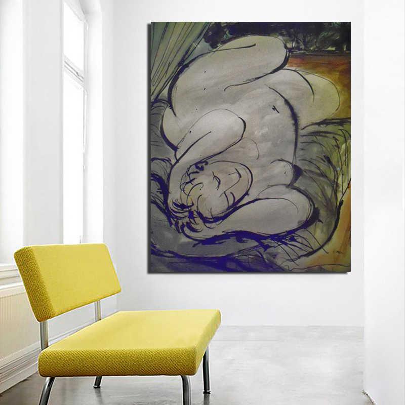 HD طباعة قماش بابلو بيكاسو لوحات عارية امرأة ديكور المنزل جدار الفن Vintage نمط وحدات صورة الحديثة المشارك غرفة نوم الإطار