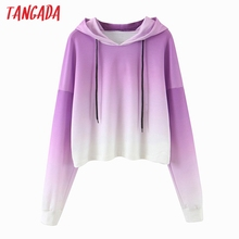 Tangada women purple hoodie sweatshirts japanese 2020 fashio