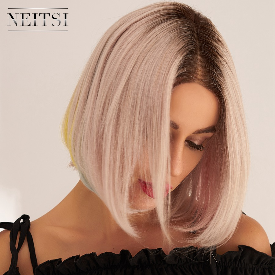 Neitsi Pre Plucked Remy Human Hair Wigs Natural Hairline Handtied Half Lace Short Bob Wig 10
