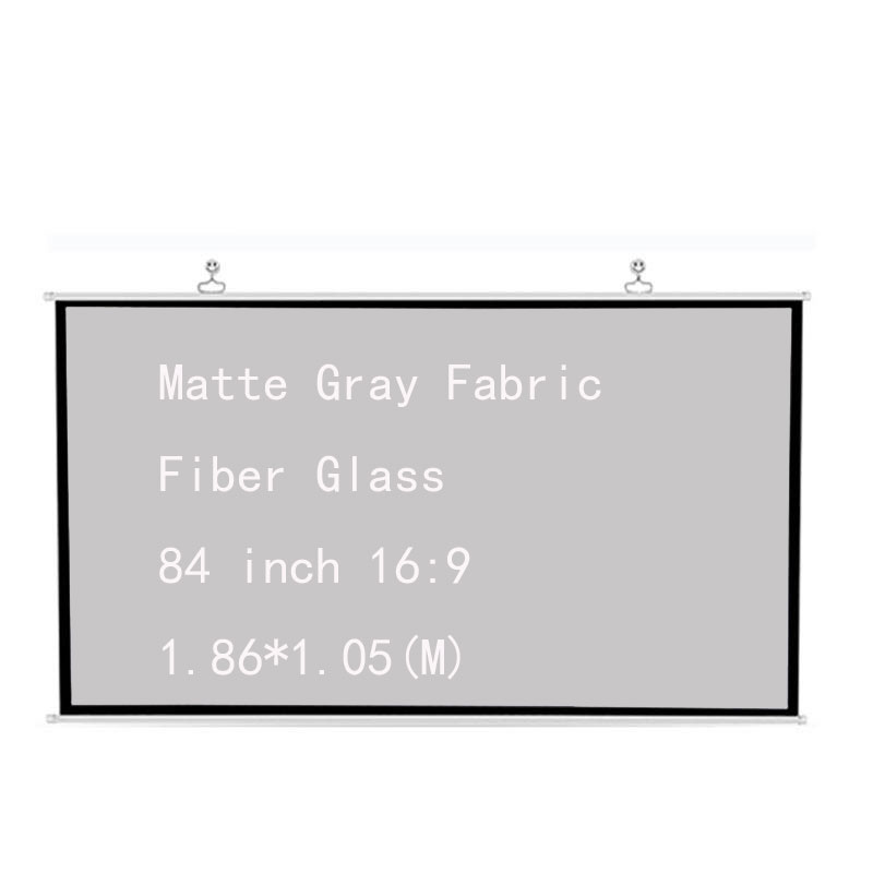 Thinyou Projector Screen 100 inch 16:9 Matte Gray Fabric Fiber Glass Wall Mounted White for Home Theater