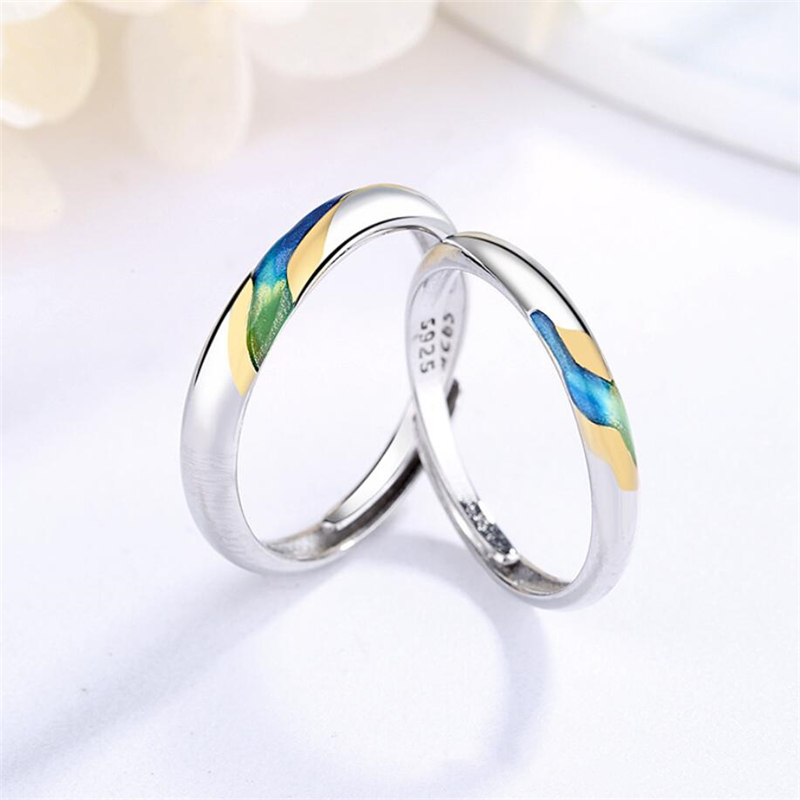 Sole Memory Original Color Drip Glaze Starry Sky 925 Sterling Silver Female Resizable Opening Romantic Couple Rings SRI525