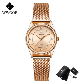 2020 WWOOR Fashion Brand Ladies Watches Luxury Diamond Rose Gold Women Bracelet Watch Elegant Dress Watch For Girls montre femme - Rose gold