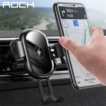 15W Qi Wireless Charger Car Holder ,ROCK for iPhone 12 Pro Samsung Xiaomi Intelligent Infrared Air Vent Mount Car Phone Holder автомобильный держатель rock deluxe vent edition car holder ii black grey