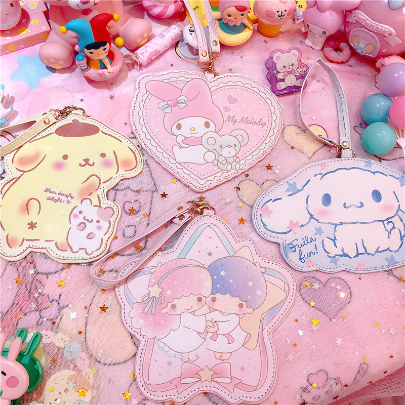 1pc Lovely Cartoon Melody Pu Leather ID Credit Bank Card Holder Students Bus Card Case Lanyard Male Door Identity Cards Cover image