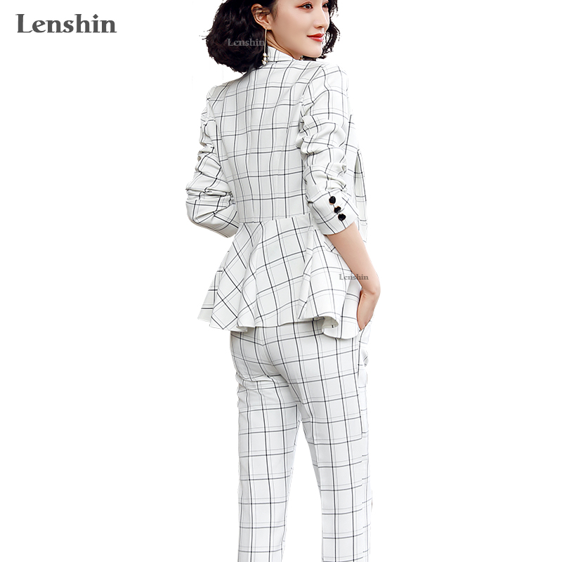 Lenshin High-quality 2 Piece Set Plaid Pant Suit Geometric Fashion Blazer Office Lady Casual Designs Women Jacket And Pant