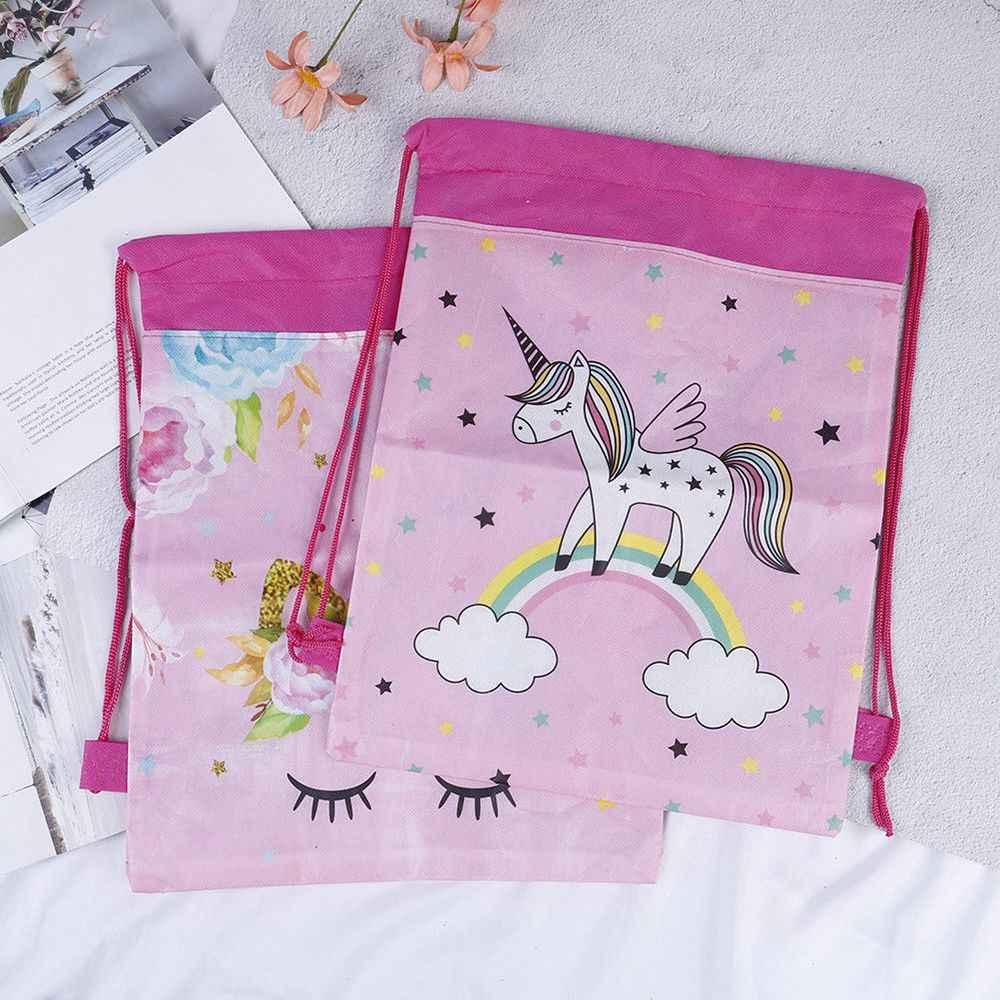 Venda quente unicórnio drawstring saco para meninas pacote de armazenamento viagem dos desenhos animados mochilas escolares crianças festa aniversário favores