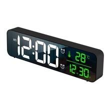 LED Digital Alarm Clock Snooze Temperature Date Display USB Desktop Strip Mirror LED Clocks for Living Room Decoration