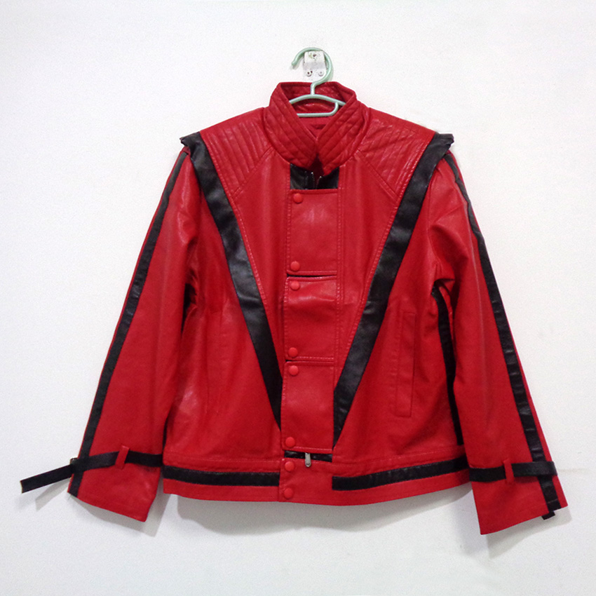 Michael Jackson MJ Thriller Faux Leather Red Jacket Christmas Party Halloween Uniform Outfit Cosplay Costume Customize Any Size