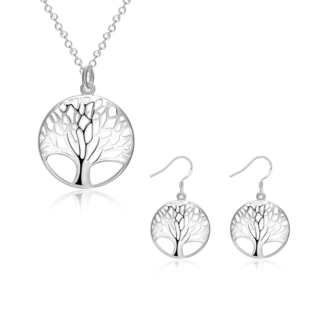Wisdom Tree Necklace Earring Set 925 Sterling Silver Tree of Life Pendant Necklace and Earrings Christmas Gifts 2pcs Jewelry Set