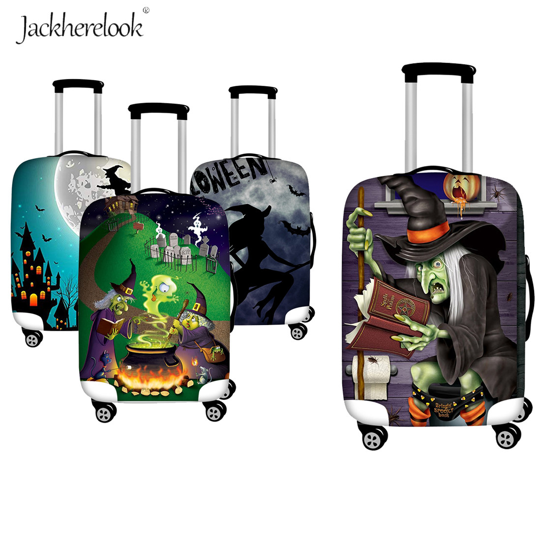 Jackherelook Halloween Witch Travel Suitcase Dustproof Cover Elastic Luggage Bag Case Thicken Travel On Road Protective Cover