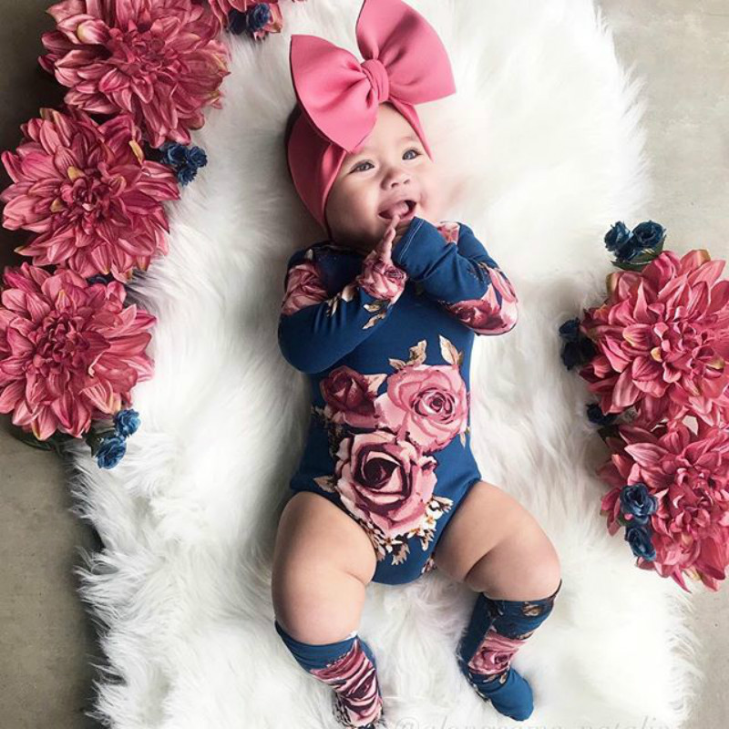 0-24M Infant Newborn Baby Girls Romper Autumn Clothes Flower Jumpsuit+Leg Warmers Outfit Cute Baby Girl Costumes