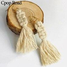 Cpop Trendy Handmade Weaving Macrame Earrings Elegant Wedding Jewelry Ethnic Fashion Tassel Earring Bridesmaid Gifts Accessories