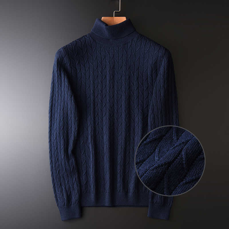 Turtleneck Men Luxury 3d Jacquard Wool Thick Mens Sweaters Plus Size 4xl Slim Fit Solid Color Sweater Male