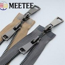 Meetee 120cm 5# Double Slider Open End Metal Zipper Gun Black Teeth DIY Sewing Down Jacket Coat Accessories 13 Colors