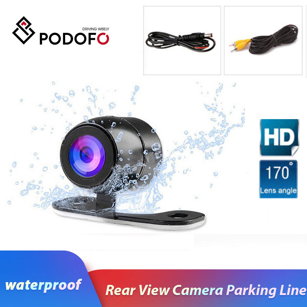 Podofo Universal Waterproof 170 Degree Wide Lens 4 LED Car Rear View Camera Vehicle Parking Assistance Night Vision,Parking Line