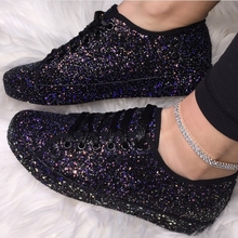Women Lace Up Sneakers Glitter Autumn Flat Vulcanized Ladies