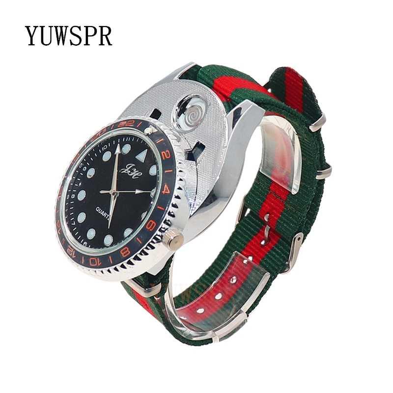 שעון גברים מצית שעון ספורט USB נטענת מצית מחנה אש Windproof Flameless מקרית קוורץ צמיד ZH320