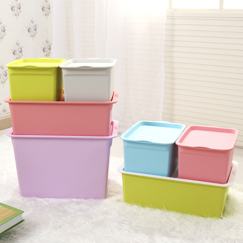 P Thick Large Size With Lid Storage Box Plastic Multi-functional Colorful Finishing Box Toy Cosmetics Storage Box