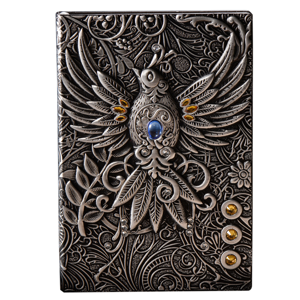 Writing Pads Handcraft PU Cover Vintage Phoenix Embossed Travel Journal School Diary Notebook Gift 21.5 X 14.5cm