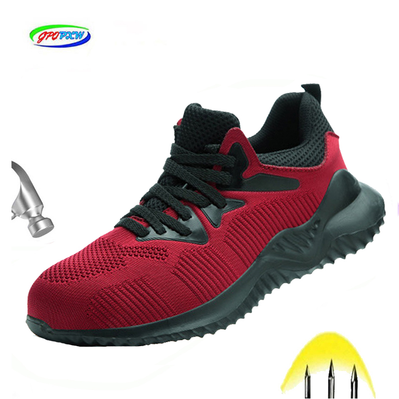 2019 New Work Safety Shoes Fashion Sneakers Ultra-light Soft Down Men Breathable Anti-smashing Industrial Steel Toe Work Boots