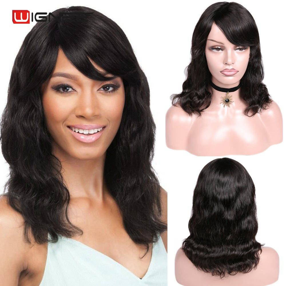 Wignee Lace Part Natural Wave Human Hair Wig For Black/White Women 150% High Density Glueless Remy Brazilian Hair Lace Human Wig