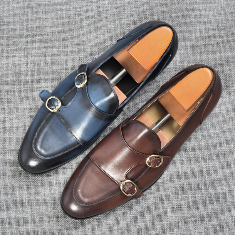 Genuine Leather Mens Casual Shoes Brown Blue Color Office Business Oxford  Double Buckle Strap Italy Style Shoe