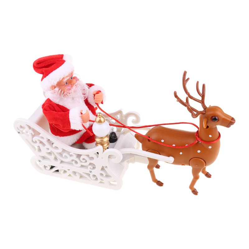 Elk Sleigh Santa Claus Doll With Music Electric Universal Car Toy New Year Gifts U50F