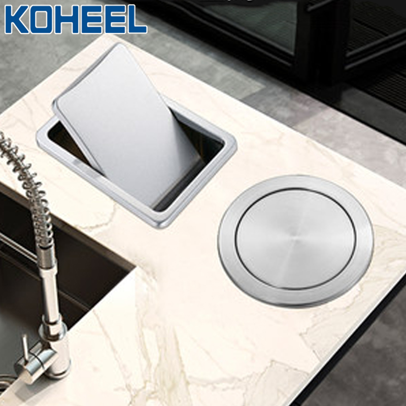 KOHEEL Kitchen Counter Kitchen Sink Parts Top Stainless Steel Flush Recessed Swing Flap Lid Cover Trash Bin Garbage Can FKS49