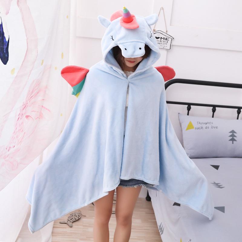Unicorn Fleece Blanket Hooded Blanket Bed Sofa TV Throw Blankets Cartoon Hoodie Blanket Sweatshirt Christmas Gift for Children 10