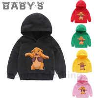 Dzieci z kapturem bluzy z kapturem dla dzieci dzieci kreskówki król lew śmieszne Simba bluzy dziecięce pulowerowe topy berbeć dziewczyny chłopcy ubrania, KMT5315