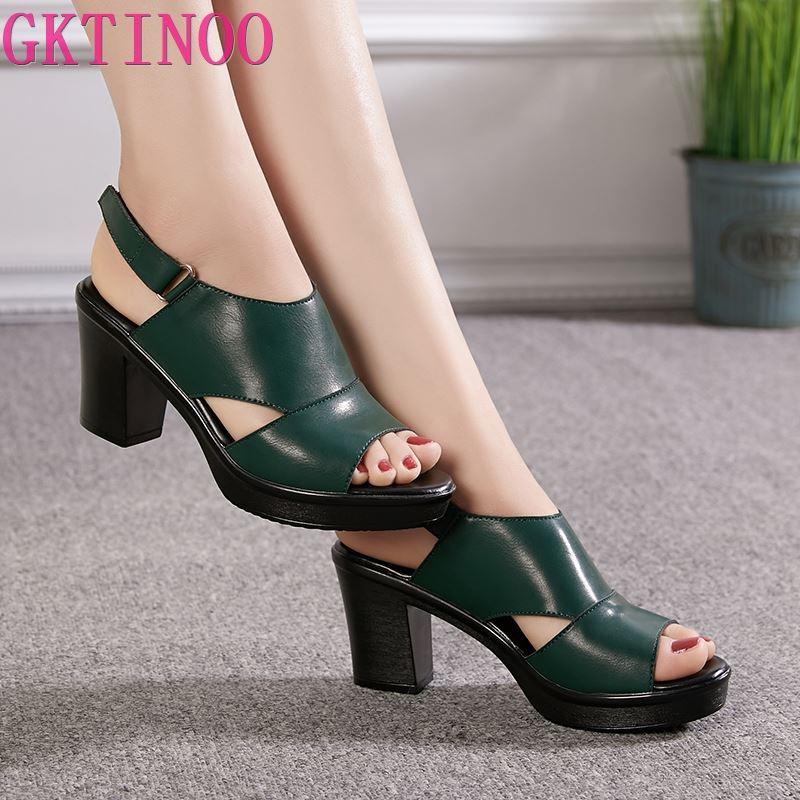 GKTINOO Women's Sandals Genuine Leather Platform Sandal 2020 Summer Thick Sole High Heels Ladies Sandal Summer Shoes For Women