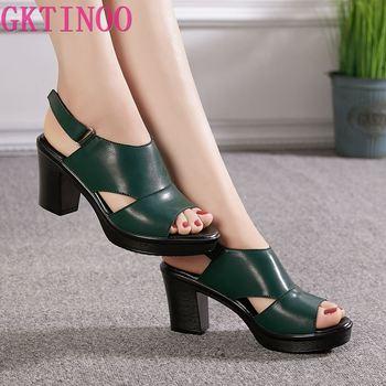GKTINOO Women's Sandals Genuine Leather Platform Sandal 2020 Summer Thick Sole High Heels Ladies Sandal Summer Shoes For Women цена 2017
