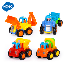 (Set of 4) Classic City Building Construction Series of Children's Toys Mini Car Smiley Baby Truck Back Car Inertial Car Gifts  цены онлайн