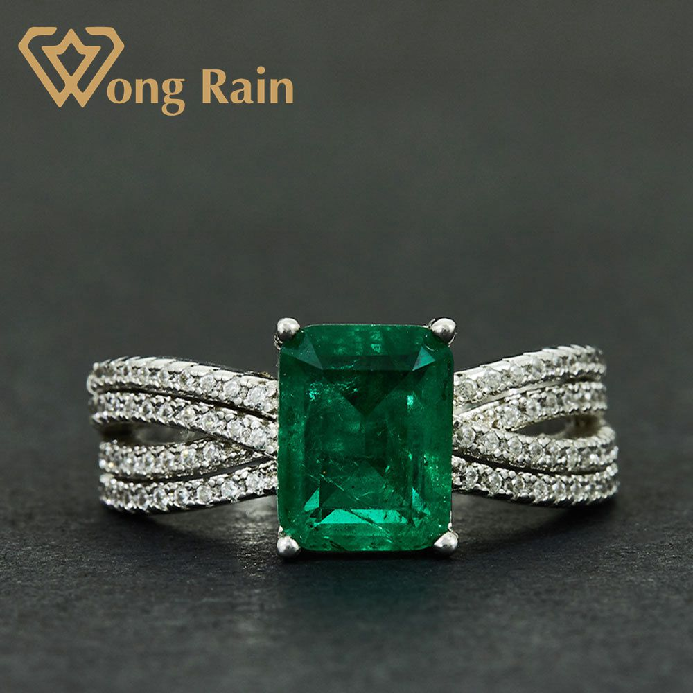 Wong Rain Vintage 100% 925 Sterling Silver Created Moissanite Emerald Gemstone Wedding Engagement Ring Fine Jewelry Wholesale