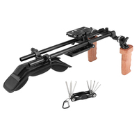 CAMVATE Pro Shoulder Support Rig With Manfrotto Quick Release Plate & Dual Wooden Hand Grip Rosette Connection C2421