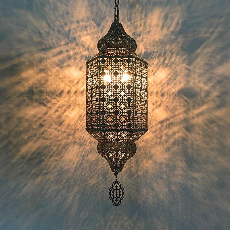 Artpad чугунная Подвесная лампа большого размера в Юго Восточной Азии экзотическая полые цепи подвесной светильник для магазина одежды бара р