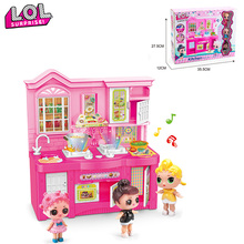 LOL surprise Mini kitchen with music lighting Original Anime figure model toy Girl's lol dolls action figures gift DIY toys