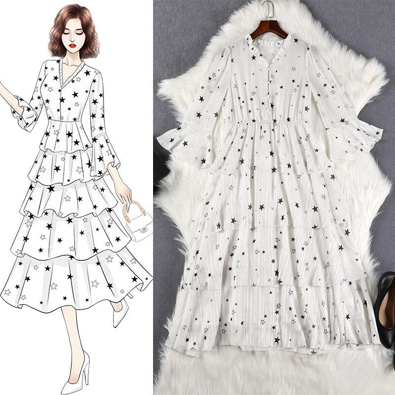 Lan Mu Square Large Size WOMEN'S Dress Autumn Clothing New Style Large GIRL'S Size Waist Hugging Slimming Cake Dress Summer 1036