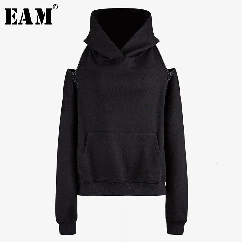 [EAM] Loose Fit Zipper Off Shouder Oversized Sweatshirt New Hooded Long Sleeve Women Big Size Fashion Tide Spring 2020 1N085