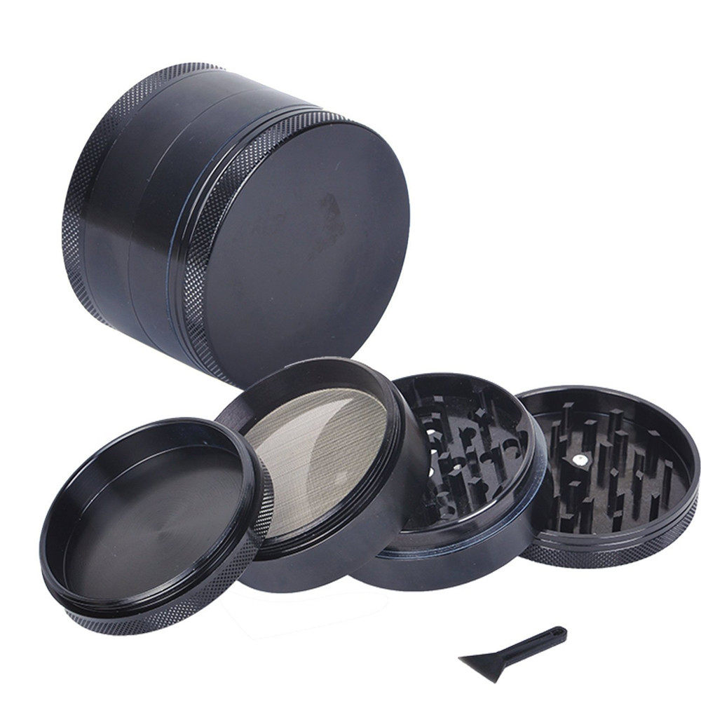 4-layer Aluminum Herbal Herb Tobacco Grinder Smoke Grinders Smoking Pipe Accessories Black Smoke Cutter Cigarette Accessories