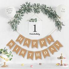 Glücklich Geburtstag Dekoration Kraft Papier Banner Weiß Ballon Dekoration Geburtstag Party Bunting Garland Baby Dusche Liefert