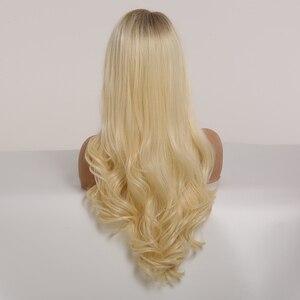 Image 5 - Easihairブロンド波状レースフロントかつら合成かつら黒人女性のための実体波の蜂蜜ブラウンブロンドオンブルレースのかつら高密度