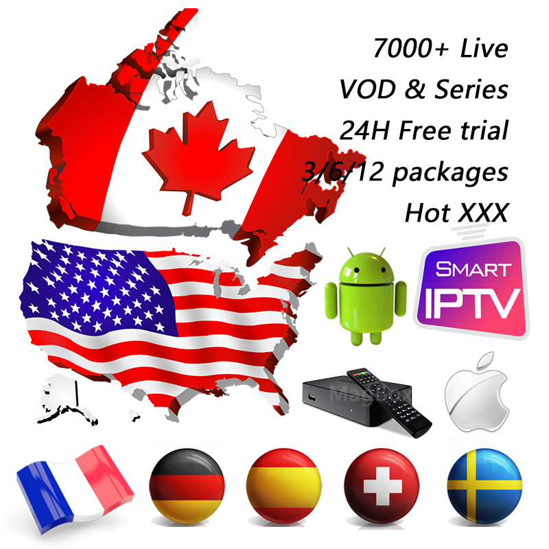 Free Trial USA Canada Iptv Subscription M3u Code 7000+ 4K HD Live Vod Series Hot XXX France Spain 1 Year Smart Android Tv Box