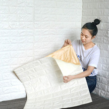PE Foam 3D Wall Stickers Embossed Brick Waterproof Self Adhesive Wallpaper Room Home Decor For Kids Bedroom Living Room Stickers