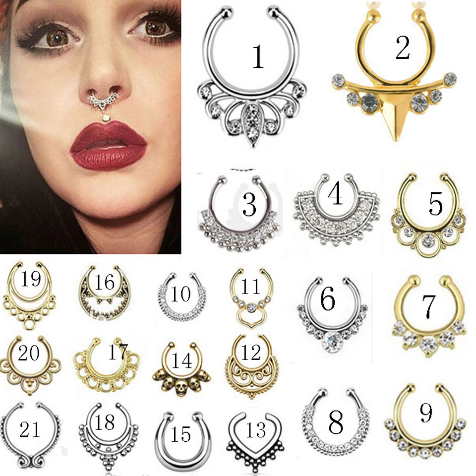 1pcs Fashion Crystal Fake Nose Ring Round Shape Fake Septum
