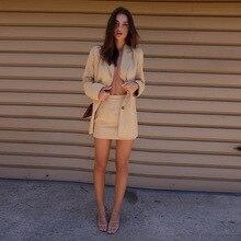 Skirt Suits Blazer Two-Piece-Set Slip-Dress Women Summer Casual Commute Mini Sweet High-Waist